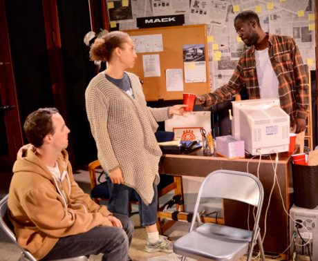 Andrew Flurer, Dawn Thomas Reidy, and Baakari Wilder in 'The Few.' Photo courtesy of Unexpected Stage Company.