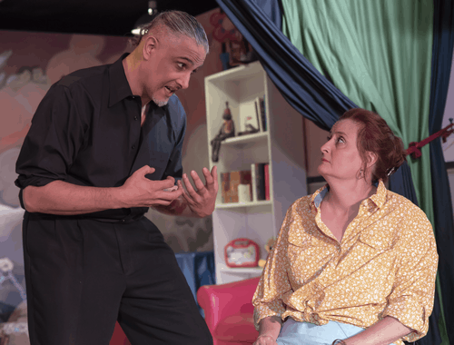 Paul Davis as Pastor Greg and Sharon Eddy as Margery in 'Hand to God.' Photo by Rachel Zirkin Duda.