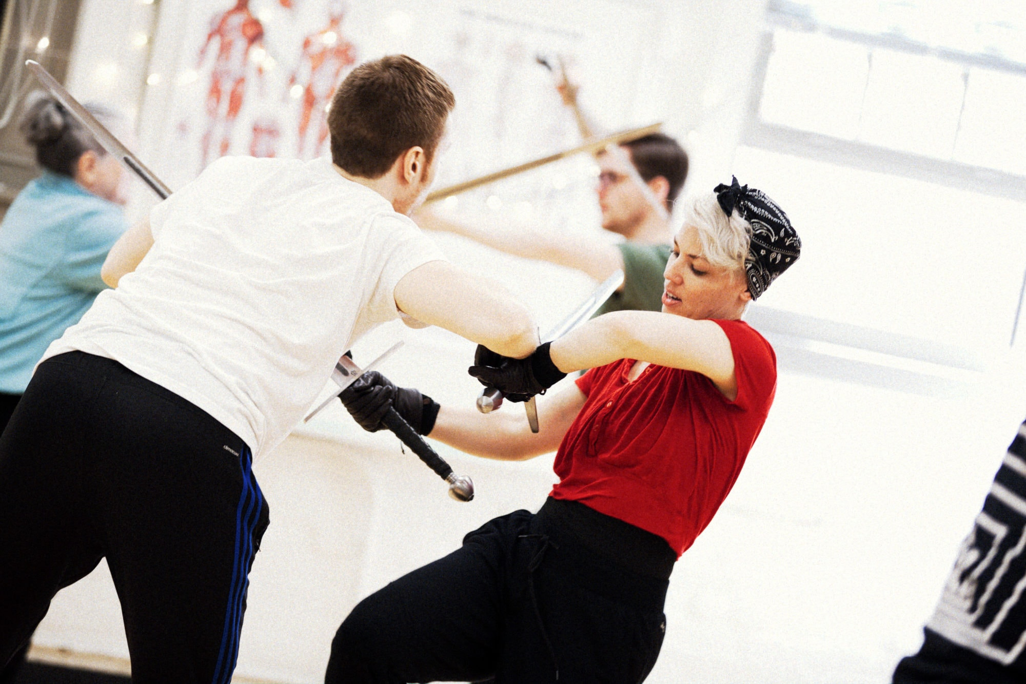 John Zoitos and Tro Shaw in combat class at the Shakespeare Theatre Company Academy for Classical Acting at the George Washington University. Photo courtesy of Shakespeare Theatre Company.