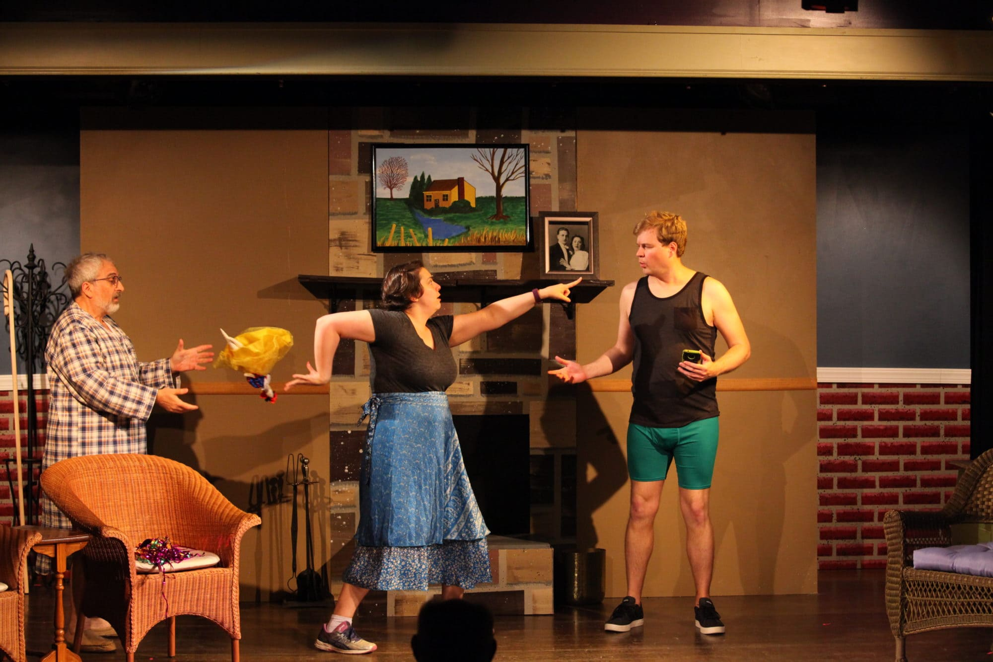 Dave Gross, Jenny Gleason, and Ray Essick in Sandy Spring Theatre Group's production of 'Vanya and Sonia and Masha and Spike.' Photo by Scott D'Vileskis.