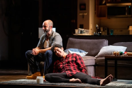 Scott Aiello and Rolando Chusan in 'Support Group for Men' at Contemporary American Theater Festival. Photo by Seth Freeman.