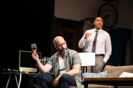 Scott Aiello and Ken Robinson in 'Support Group for Men' at Contemporary American Theater Festival. Photo by Seth Freeman.