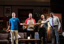 L-R: Juan Arturo, Chris Thorn, Scott Aiello, and Ken Robinson in 'Support Group for Men' at Contemporary American Theater Festival. Photo by Seth Freeman.