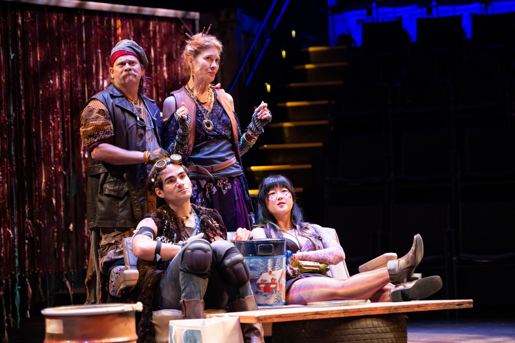 Lou Sumrall, Kate Udall, Reece Santos, and Sarah Sun Park in 'A Welcome Guest' at Contemporary American Theater Festival. Photo by Seth Freeman.