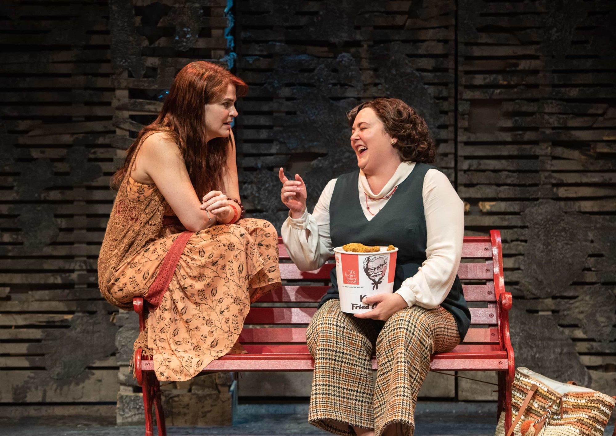 """Rachel Zampelli (Lynette """"Squeaky"""" Fromme) and Tracy Lynn Olivera (Sara Jane Moore) in 'Assassins' at Signature Theatre. Photo by Margot Schulman."""