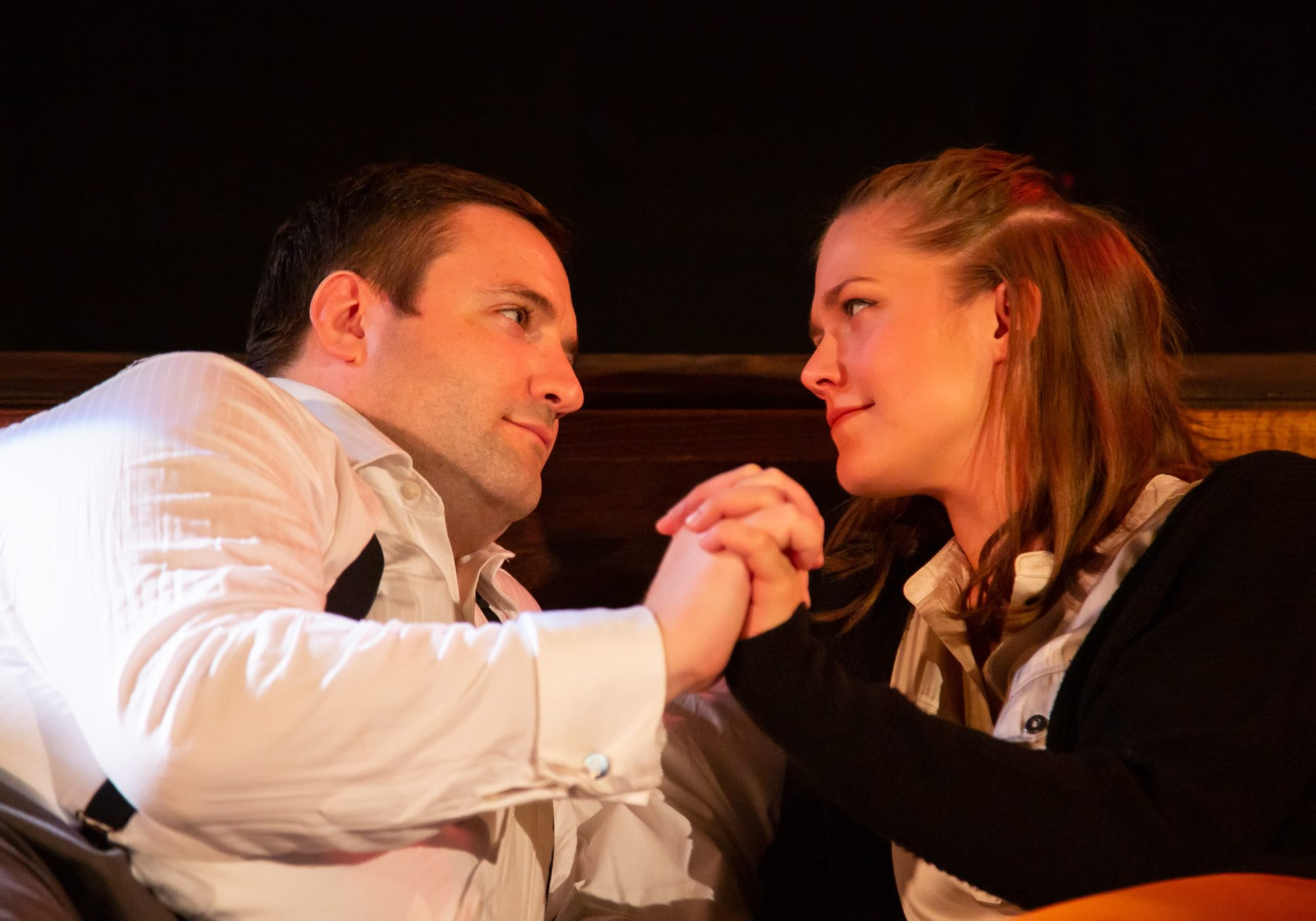 Matt Dewberry as Jerry and Caroline Dubberly as Emma in 'Betrayal' by 4615 Theatre Company. Photo by Ryan Maxwell Photography.