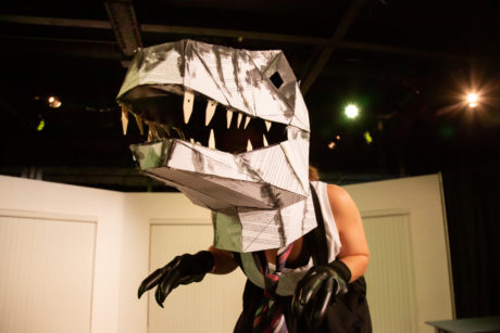 Danielle Gallo as Raptor in 'Enron.' Photo by Ryan Maxwell Photography.