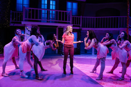 Gabriella DeLuca (center) with (left to right): MK Sagastume, Selena Clyne-Galindo, Amber Jones, Emily Madden, Anna Maria C. Shockey, and Julia Klavans in 'Legally Blonde' at the Keegan Theatre. Photo by Cameron Whitman.