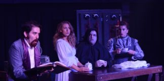 Thomas Bricker (Dr. Frankenstein), Jennifer Pagano (Inga), David Chiarenza (Igor), and Jessica Graber (Frau Blucher) in 'Young Frankenstein' by Other Voices Theatre. Photo courtesy of Linda Taylor.