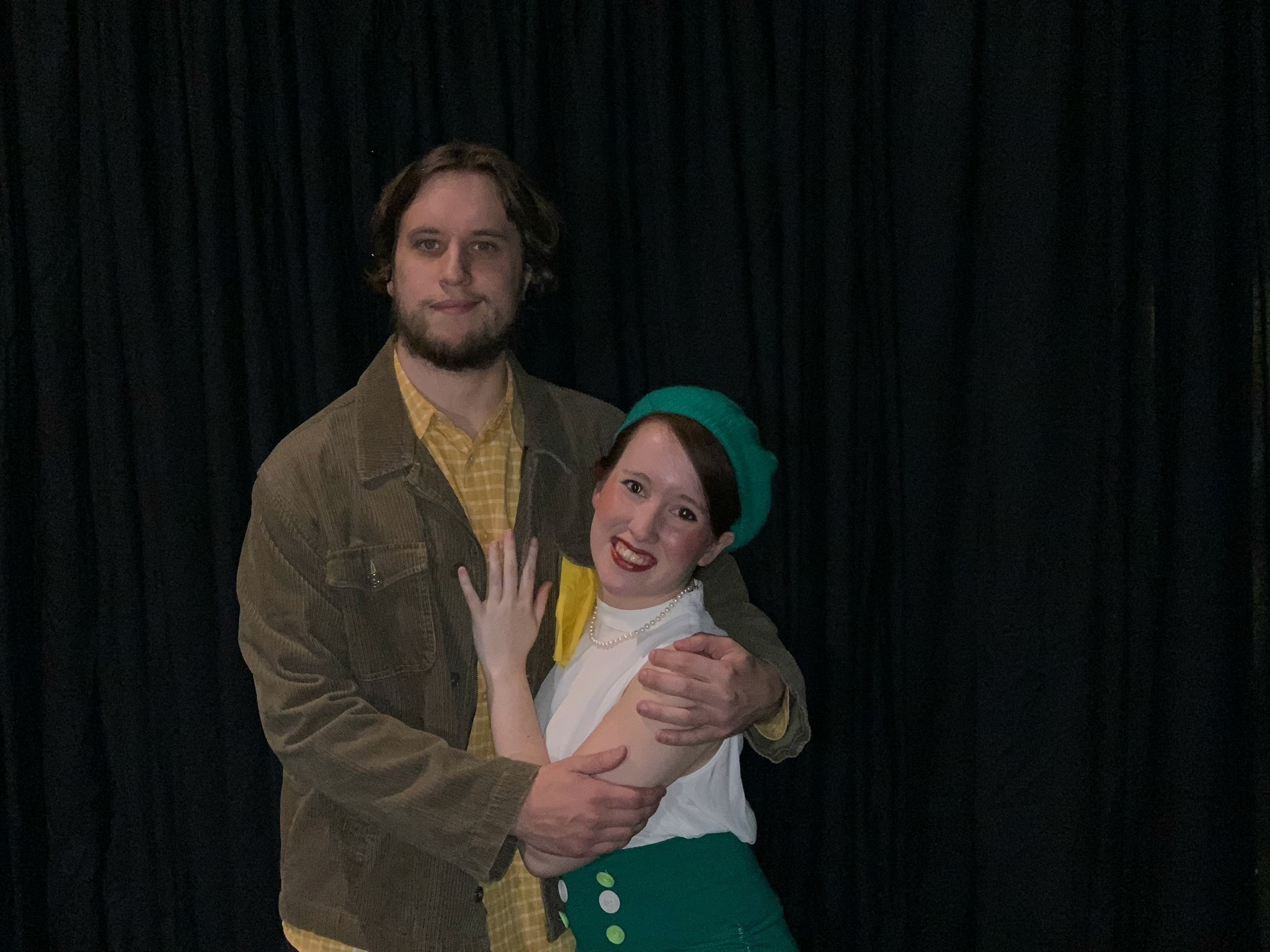 Lysander (Jeff Elmore) and Hermia (Haley Claffy) in 'A Midsummer Night's Dream' by Britches and Hose Theatre Company. Photo courtesy of Britches and Hose Theatre Company.