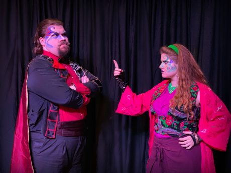Oberon (Spencer Pilcher) and Titania (Megan Fraedrich) in 'A Midsummer Night's Dream' by Britches and Hose Theatre Company. Photo courtesy of Britches & Hose Theatre Company.