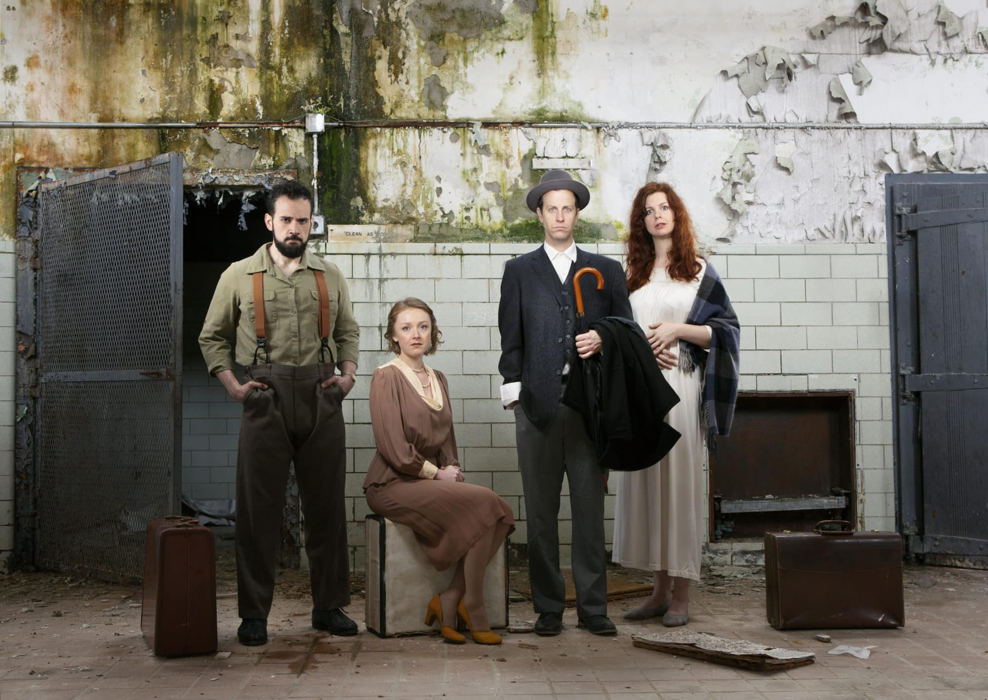 Ronald Román-Meléndez, Sylvie Davidson, Chris Johnston, and Annabelle Rollison in 'The Willard Suitcases.' Photo by Lauren Rogers Parker.