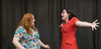 Elizabeth A. Weiss as Janie Blumberg and Betsy Ryan as Harriet Cornwall in 'Isn't It Romantic' by Theatre@CBT. Photo by Harvey Levine.