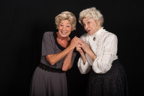 Bernadette Arvidson as Abby Brewster and Mary Suib as Martha Brewster in 'Arsenic and Old Lace' at The Colonial Players of Annapolis. Photo by Alison Harbaugh, Sugar Farm Productions.