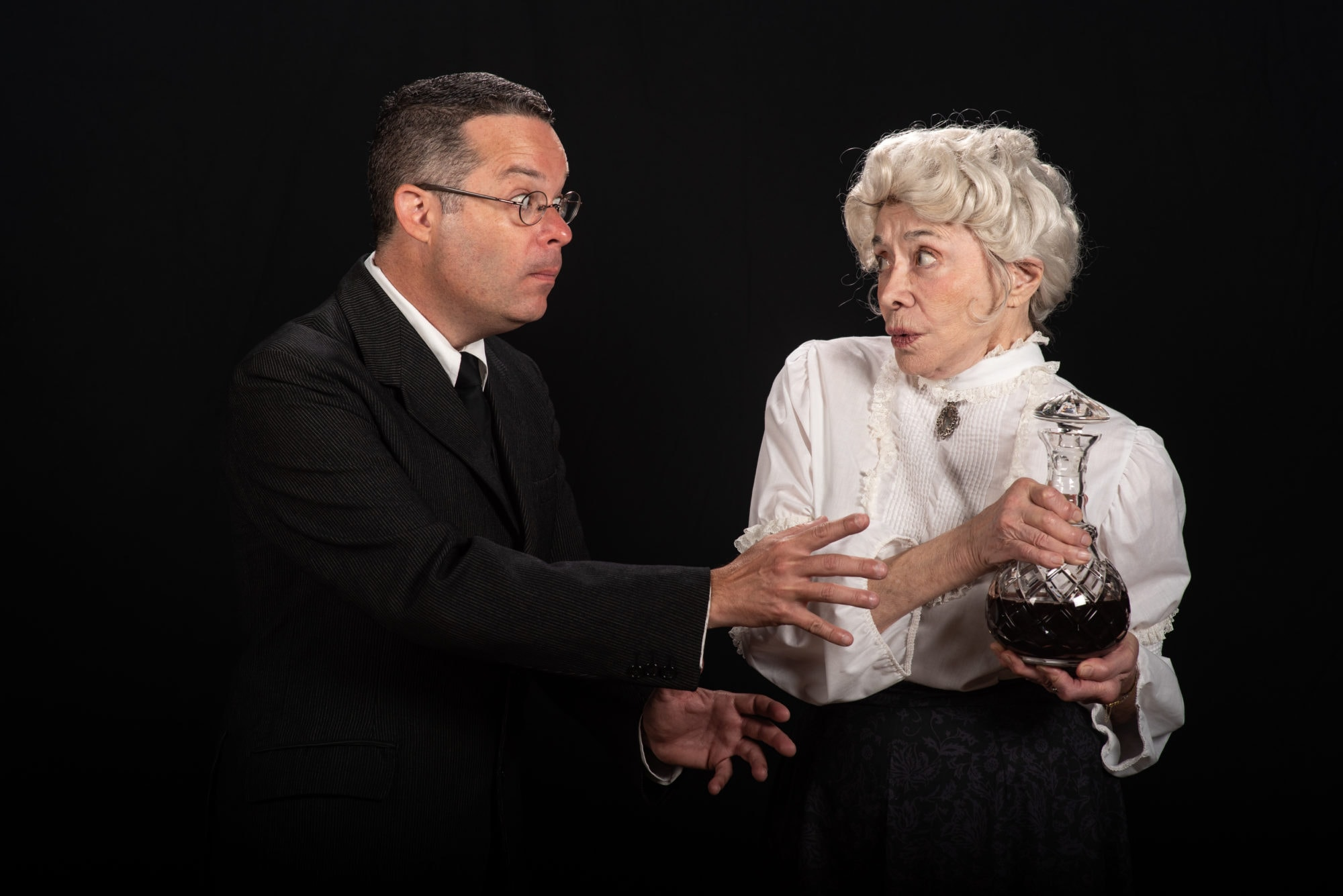 Dann Alagna as Mortimer Brewster and Mary Suib as Martha Brewster in 'Arsenic and Old Lace' at The Colonial Players of Annapolis. Photo by Alison Harbaugh, Sugar Farm Productions.