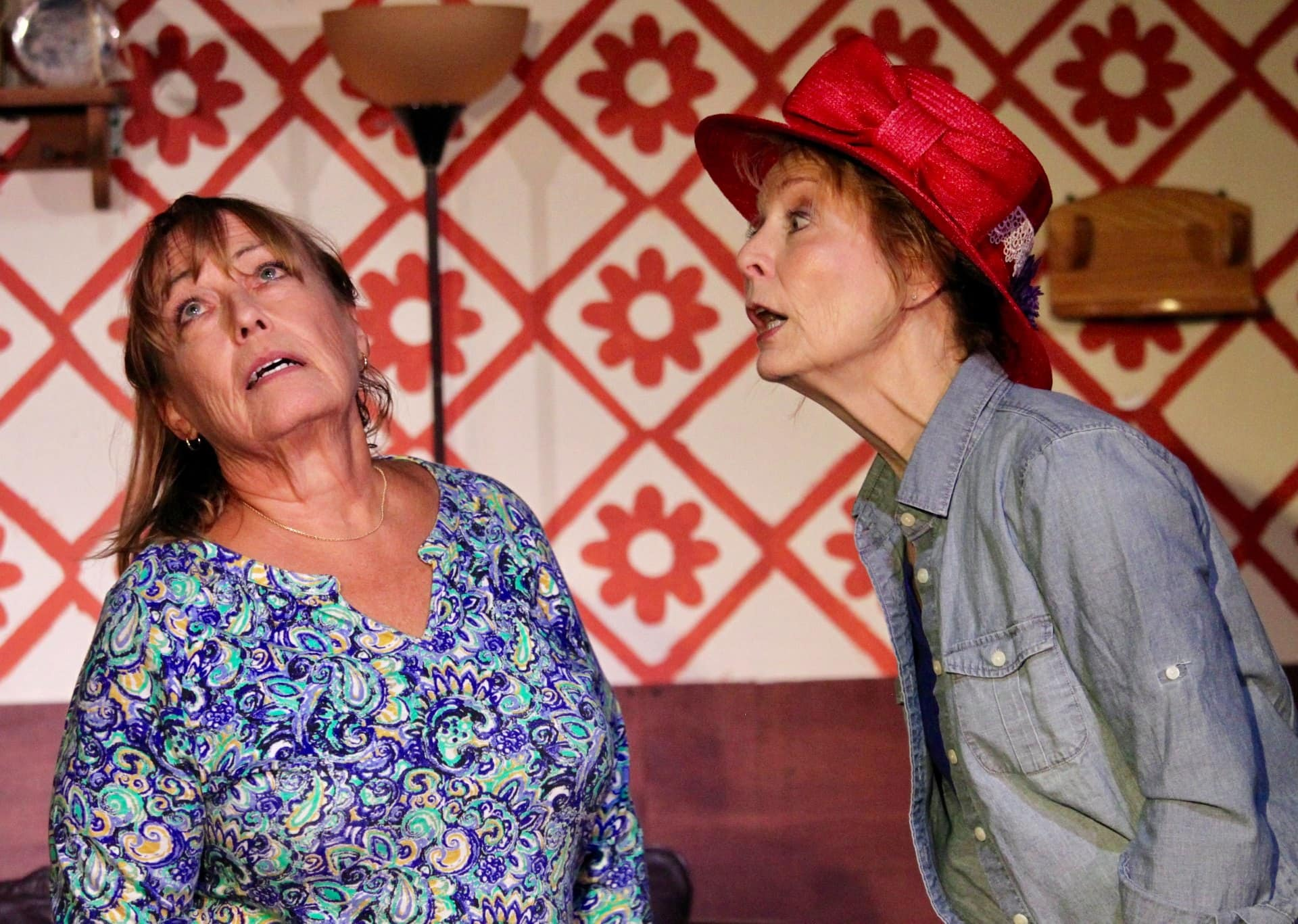 Zona (Carol Randolph) and Helen (Liz Weber) in 'Helen on Wheels' at Best Medicine Rep. Photo by Mary Roberds.