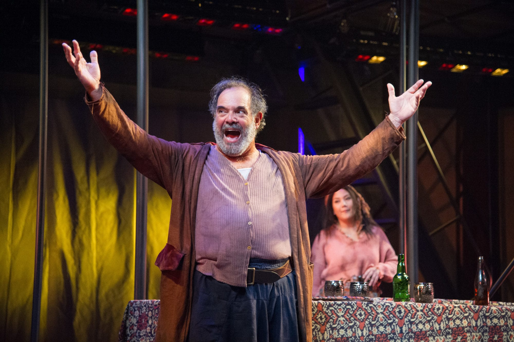 Falstaff (Edward Gero) holds court at the Boar's Head Tavern in Shakespeare's 1 Henry IV. On stage at Folger Theatre, September 3 – October 13, 2019. Photo by C. Stanley Photography.