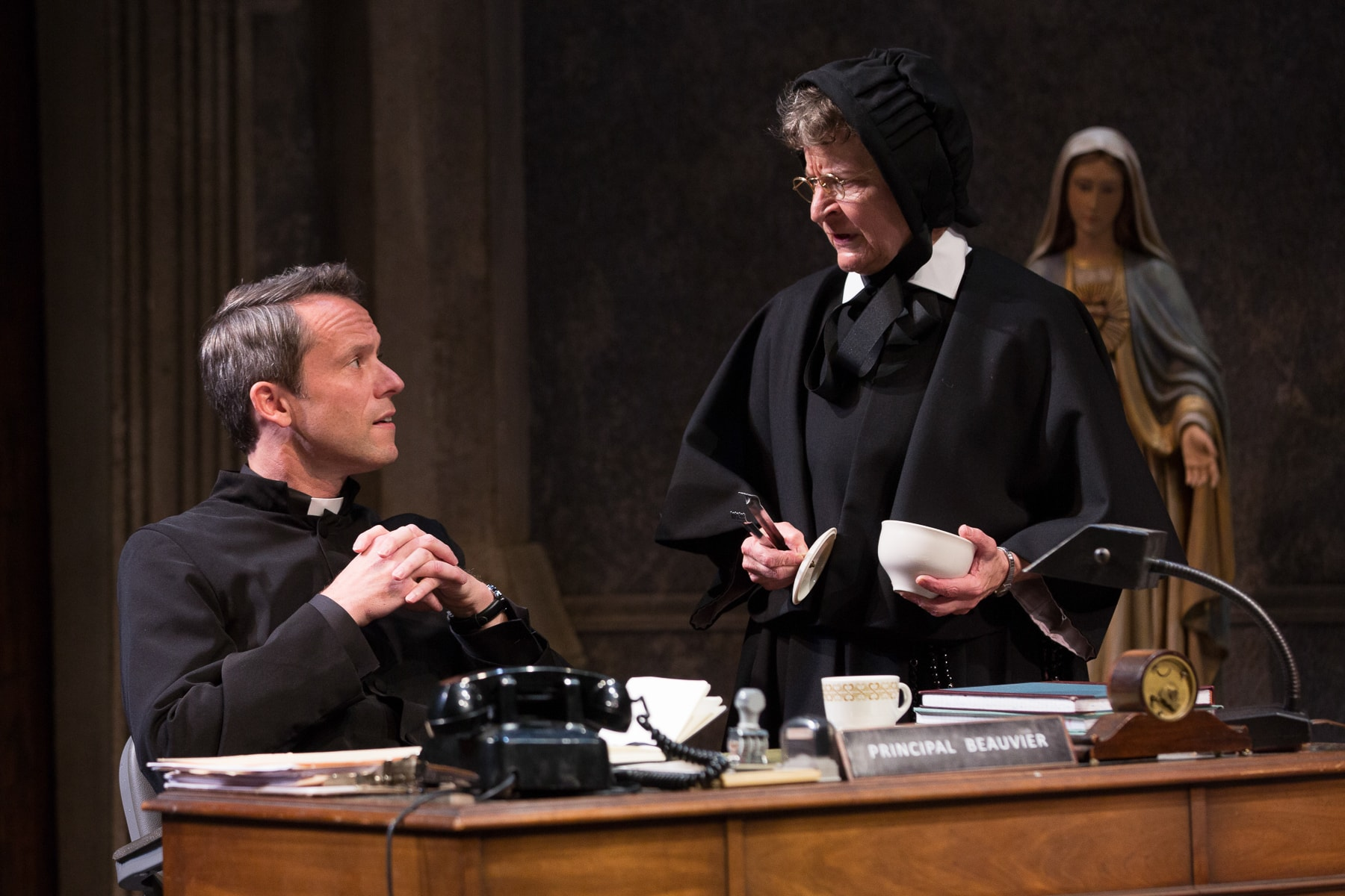 Christian Conn and Sarah Marshall in 'Doubt: A Parable' at Studio Theatre. Photo by Teresa Wood.