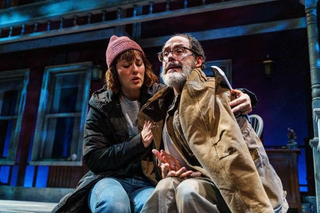 Katie Kleiger as Catherine and Bruce Randolph Nelson as Robert in 'Proof' at Everyman Theatre. Photo by DJ Corey Photography.