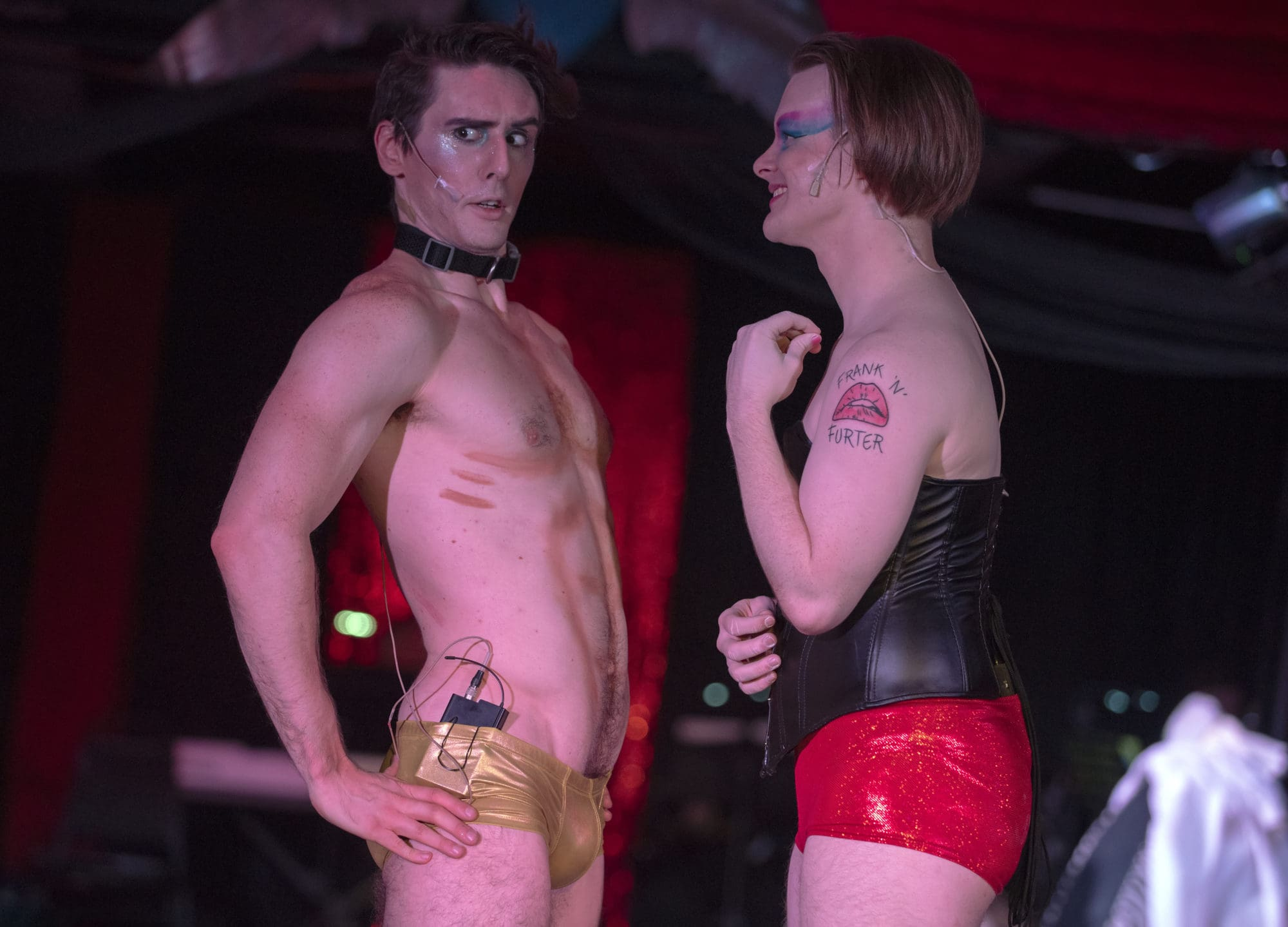 Alexander Bruce Gordon as Rocky and Kenneth Lautz as Frank 'N' Furter. Photo by Rachel Zirkin Duda.