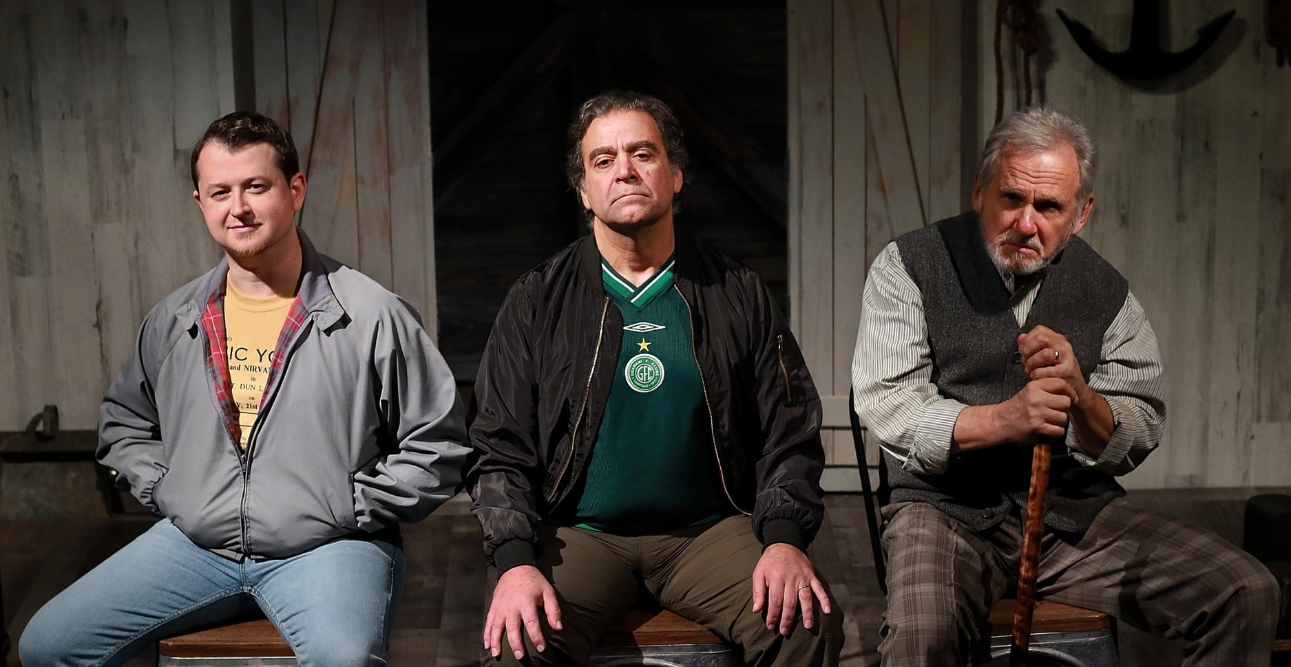 Chris Stinson as Kevin, Matthew Vaky as Dermot, and Joseph Palka as Joe in 'Port Authority' at Quotidian Theatre Company. Photo by Steve LaRocque.