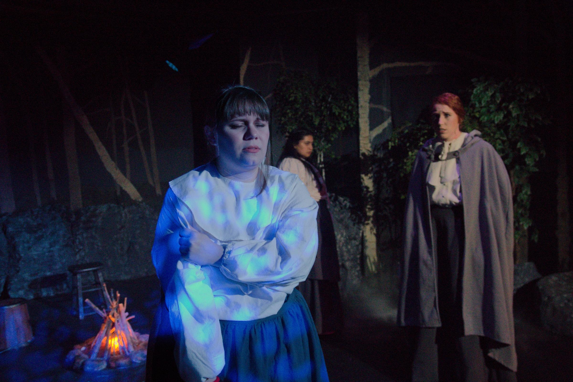 Left to Right: Megan Safko (Mercy Lewis), Malissa Cruz Romero (Abigail Williams), Sarah Luckadoo (Ann Putnam Jr.) Photo by John Cholod..
