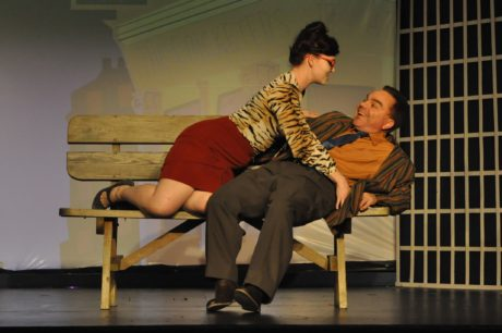 Dolly (Brittney Stane) and Francis Henshall (Brian David Clarke) in 'One Man, Two Guvnors' by Vienna Theatre Company. Photo by Matthew Randall.
