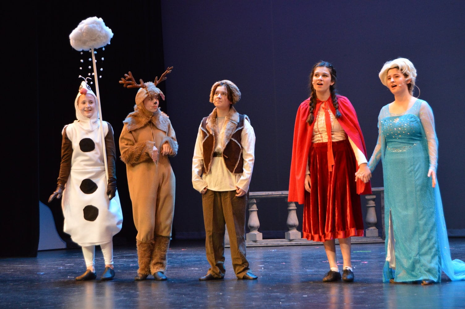 From left to right: Olaf (Jillian Michelson), Sven (Sydney Payne), Anna (Carly Ratcliffe), Elsa (Lucy Rocchio). Photo by Aileen Christian.
