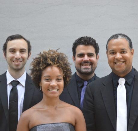 The Harlem Quartet - Cellist Felix Umansky, Violinist Melissa White, Violist Jaime Amador, Violinist Ilmar Gavilan. Photo by Amy Schroeder.