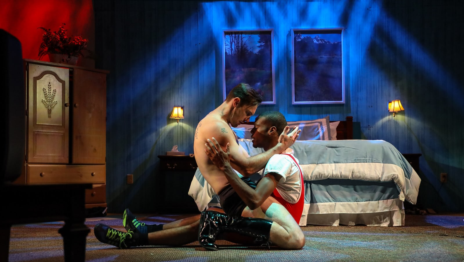James Finley and Quincy Vicks in Flying V Theatre's 'Crystal Creek Motel.' Photo by JayLee Photography.