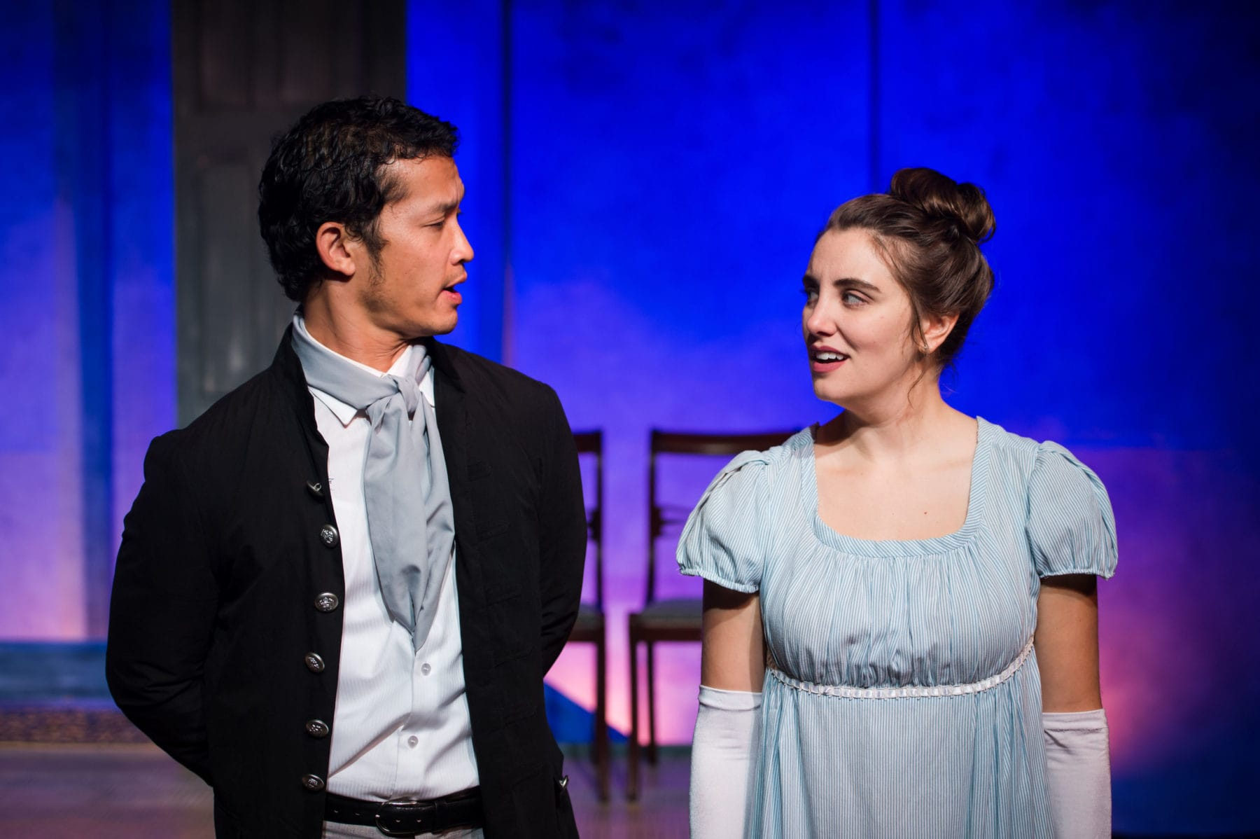 """Jacob Yeh and Katelyn Manfre in """"Pride and Prejudice"""" at NextStop Theatre Company. Photo by Lock and Company."""