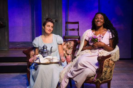 """Katelyn Manfre and Renea Brown in """"Pride and Prejudice"""" at NextStop Theatre Company. Photo by Lock and Company."""