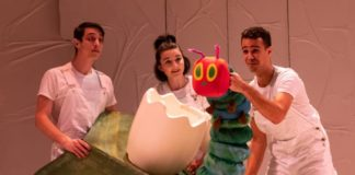 L-R: Daniel Glen Westbrook, Emily Whitworth, and Alex Turner in The Very Hungry Caterpillar Show at Imagination Stage. Photo by Margot Schulman.