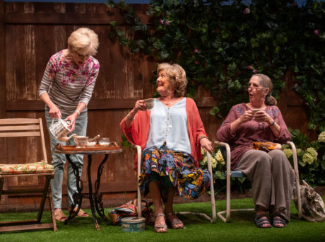 Helen Hedman as Sally, Catherine Flye as Vi, and Brigid Cleary as Lena in 'Escaped Alone' at Signature Theatre. Photo by Margot Schulman.