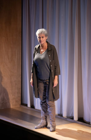 Valerie Leonard as Mrs. Jarrett in 'Escaped Alone' at Signature Theatre. Photo by Margot Schulman.