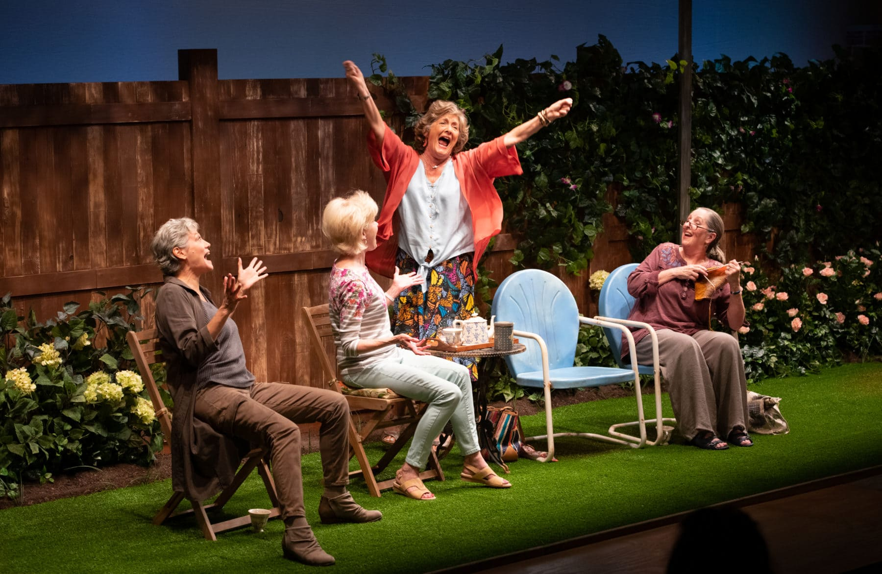 Valerie Leonard as Mrs. Jarrett, Helen Hedman as Sally, Catherine Flye as Vi, and Brigid Cleary as Lena in 'Escaped Alone' at Signature Theatre. Photo by Margot Schulman.