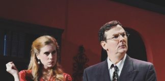 Jaclyn Robertson as Vera Claythorne and Chris Persil as Thomas Rogers in 'And Then There Were None.' Photo courtesy of Providence Players of Fairfax.