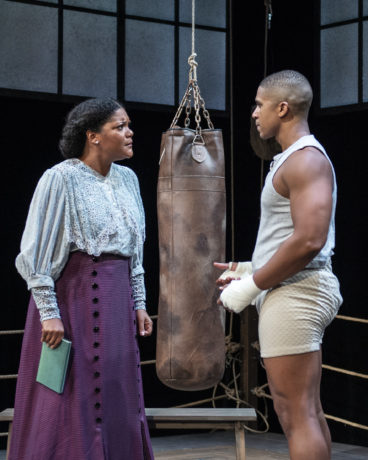 """Lolita Marie as Nina and Jaysen Wright as Jay """"The Sport"""" Jackson in 'The Royale' at Olney Theatre. Photo by Teresa Castracane Photography."""