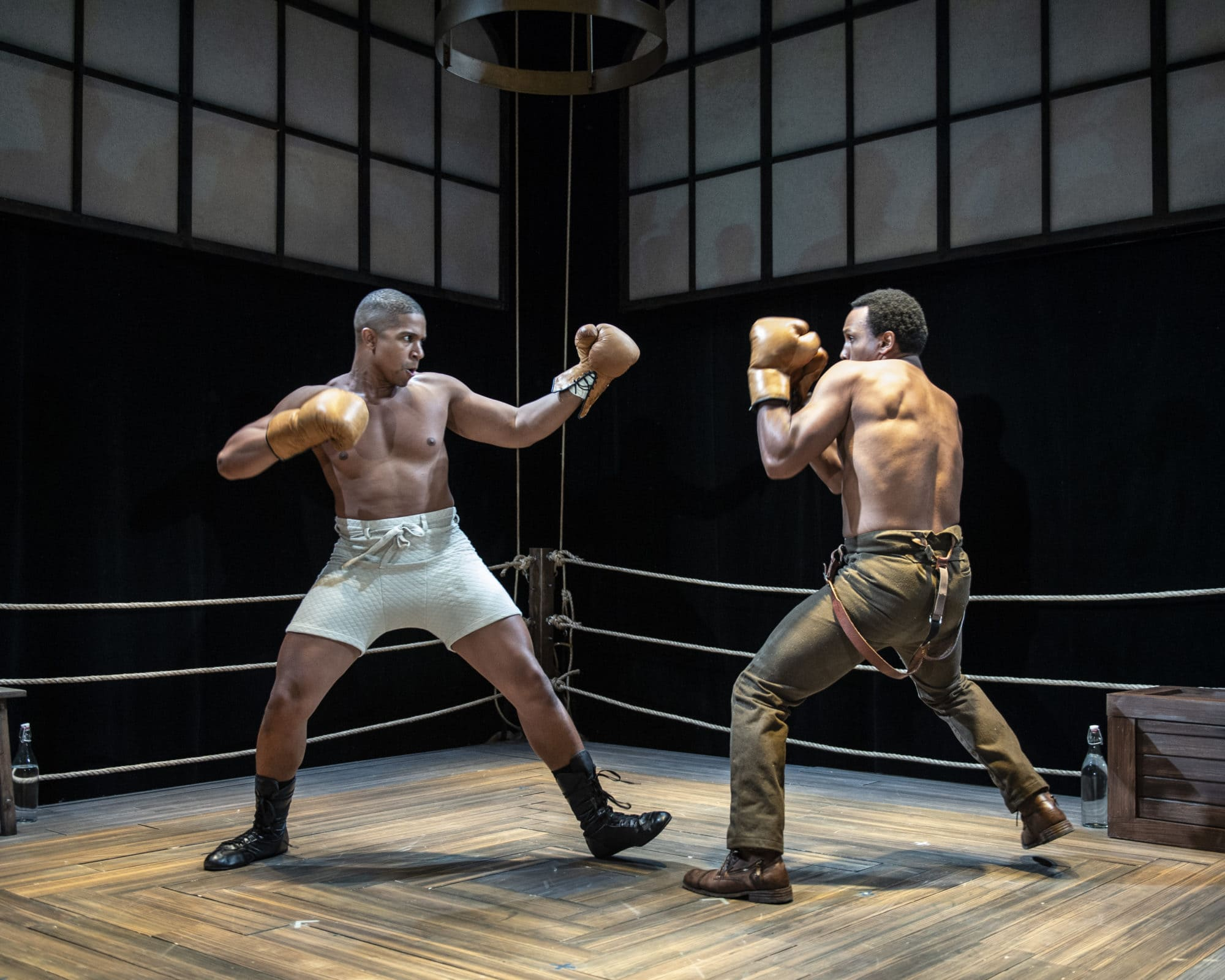 """Jaysen Wright as Jay """"The Sport"""" Jackson and Clayton Pelham, Jr. as Fish in 'The Royale' at Olney Theatre. Photo by Teresa Castracane Photography."""
