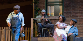 Doug Brown (Jim Bono), Jefferson A. Russell (Gabriel Maxson), Erika Rose (Rose Maxson), and Craig Wallace (Troy Maxson) in 'Fences' at Ford's Theatre. Photo by Scott Suchman.