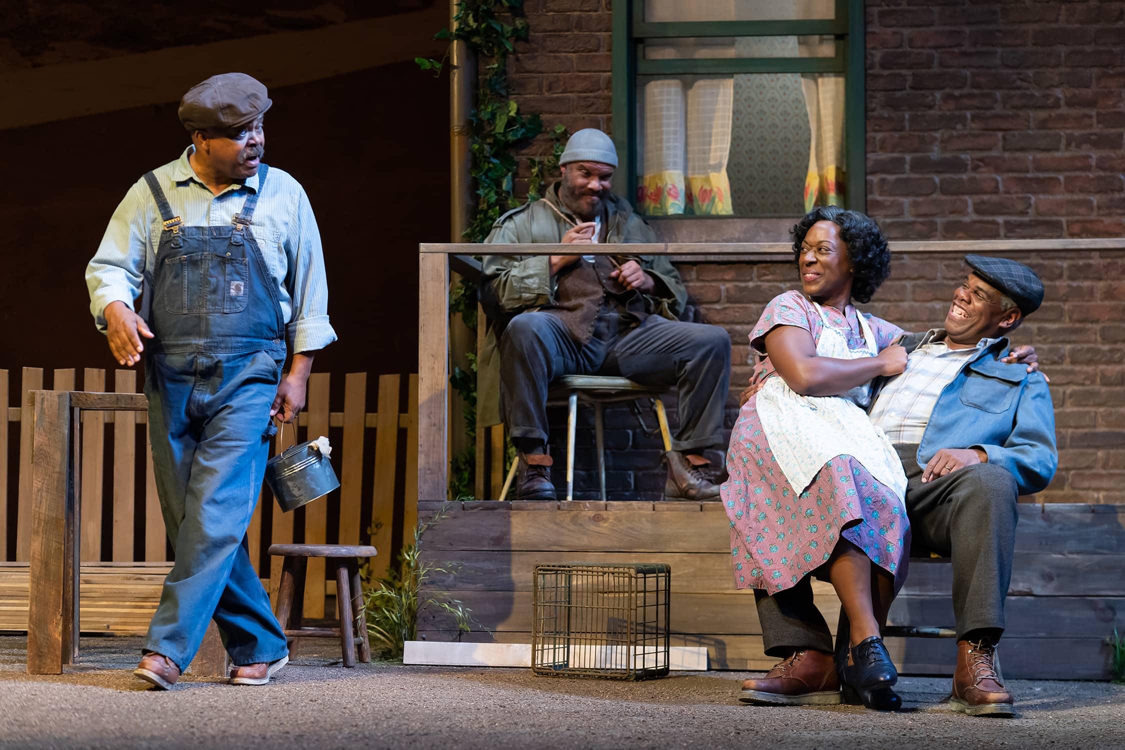 Doug Brown (Jim Bono), Jefferson A. Russell (Gabriel Maxson), Erika Rose (Rose Maxson), and Craig Wallace (Troy Maxson) in 'Fences' at Ford's Theatre. Photo by Scott Suchman.
