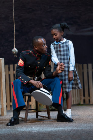 Justin Weaks as Cory Maxson and Mecca Rogers as Raynell Maxson in 'Fences' at Ford's Theatre. Photo by Scott Suchman.