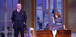 Christopher Sanders as Oliver Warbucks and Kylee Hope Geraci as Annie in 'Annie' at Riverside Center for the Performing Arts. Photo courtesy of Riverside Center for the Performing Arts.