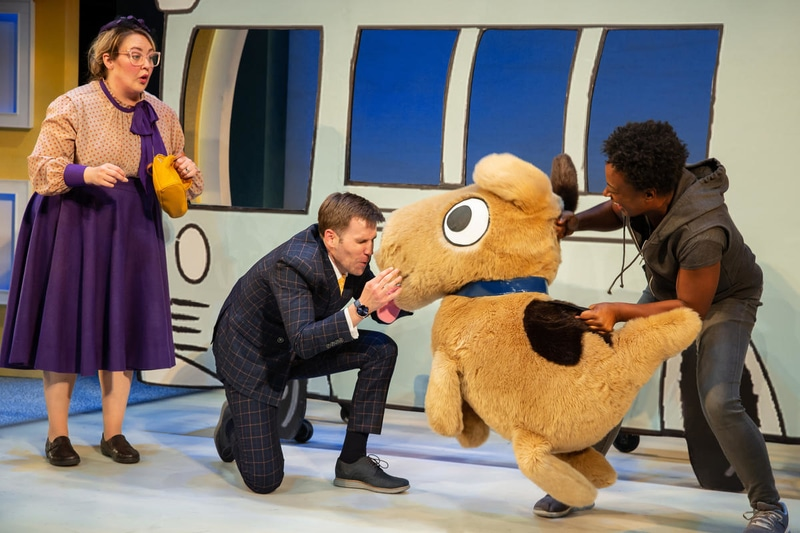 Tracy Lynn Olivera, Evan Casey, and Erika Rose in 'Don't Let the Pigeon Drive the Bus! (The Musical!)' at The Kennedy Center. Photo by Jeremy Daniel.