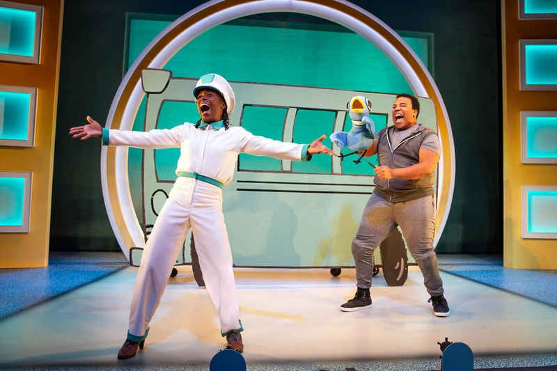 Felicia Curry and Christopher Michael Richardson in 'Don't Let the Pigeon Drive the Bus! (The Musical!)' at The Kennedy Center. Photo by Jeremy Daniel.