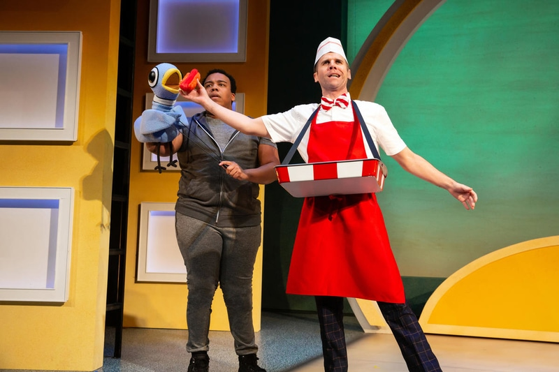 Christopher Michael Richardson and Evan Casey in 'Don't Let the Pigeon Drive the Bus! (The Musical!)' at The Kennedy Center. Photo by Jeremy Daniel.