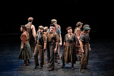 The cast of Disney's 'Newsies,' playing through December 29 at Arena Stage. Photo by Margot Schulman.
