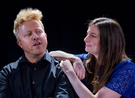 Mark Chalfant and Elaine Colwell perform with Washington Improv Theater's iMusical. Photo by Jeff Salmore.