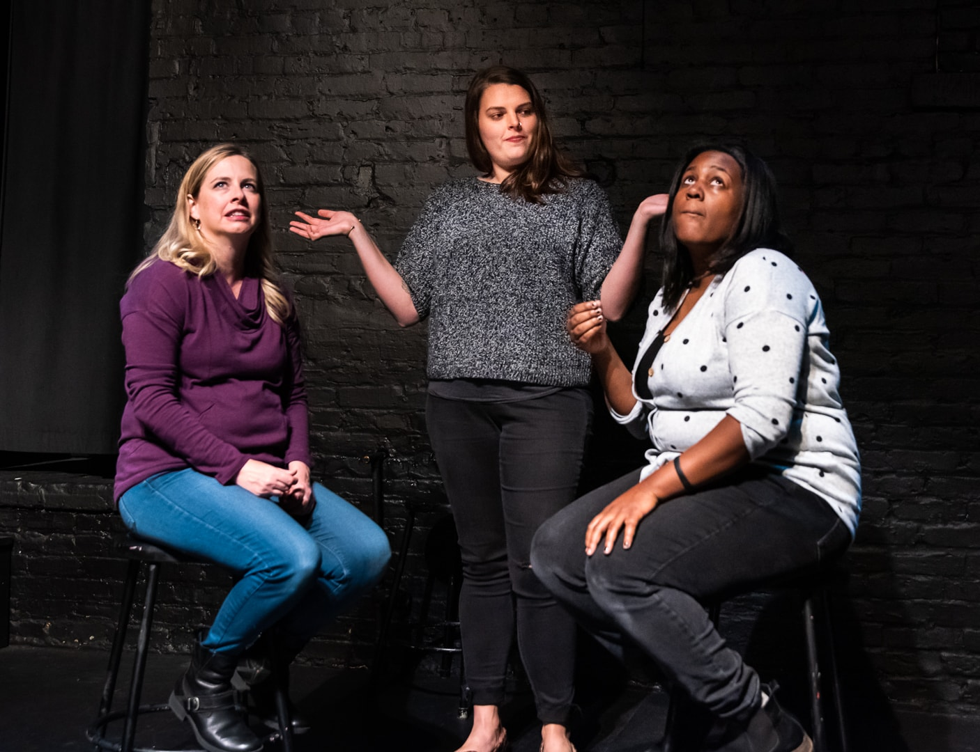 Molly Murchie, Donna Steele, and Krystal Ramseur perform with Washington Improv Theater's Hellcat. Photo by Jeff Salmore.
