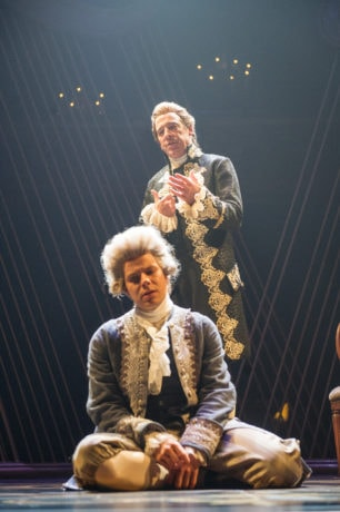 Salieri (Ian Merrill Peakes) tries to reason with his musical rival, Mozart (Samuel Adams) in 'Amadeus' at Folger Theatre. Photo by C. Stanley Photography.